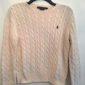 Ralph Lauren Classic Cream Cable Knit Sweater